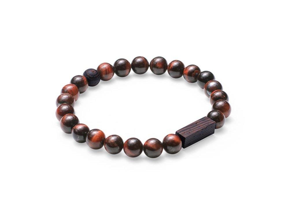 Hnědý korálkový náramek se dřevem 0 tauris bracelet