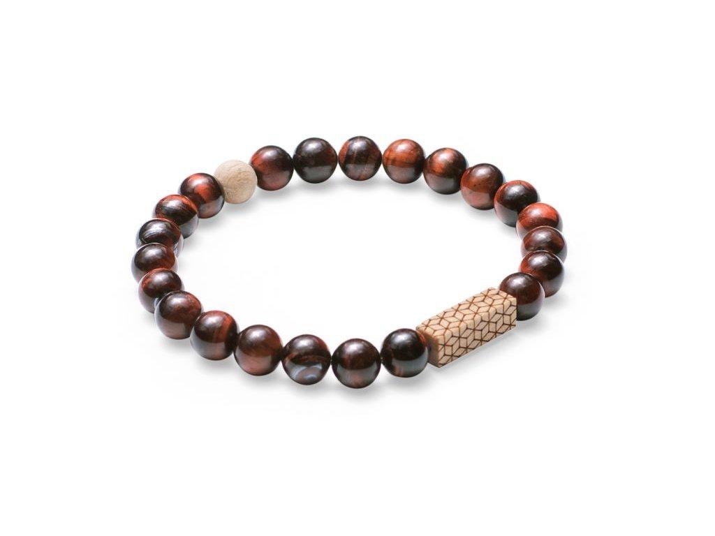 Hnědý korálkový náramek se dřevem 0 virie bracelet