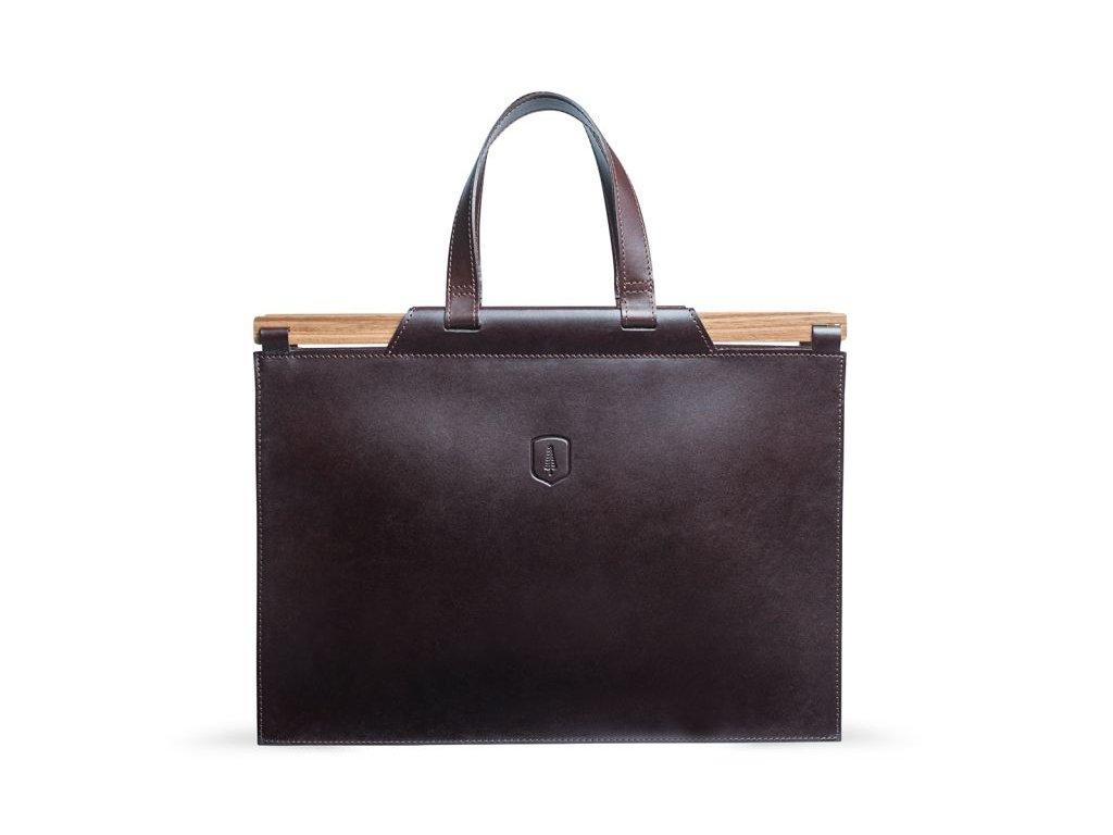 Hnědá pánská kožená taška s dřevěným detailem 2
