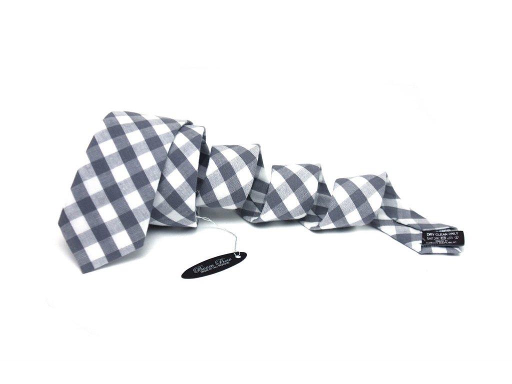 2336 sedobila kostkovana kravata