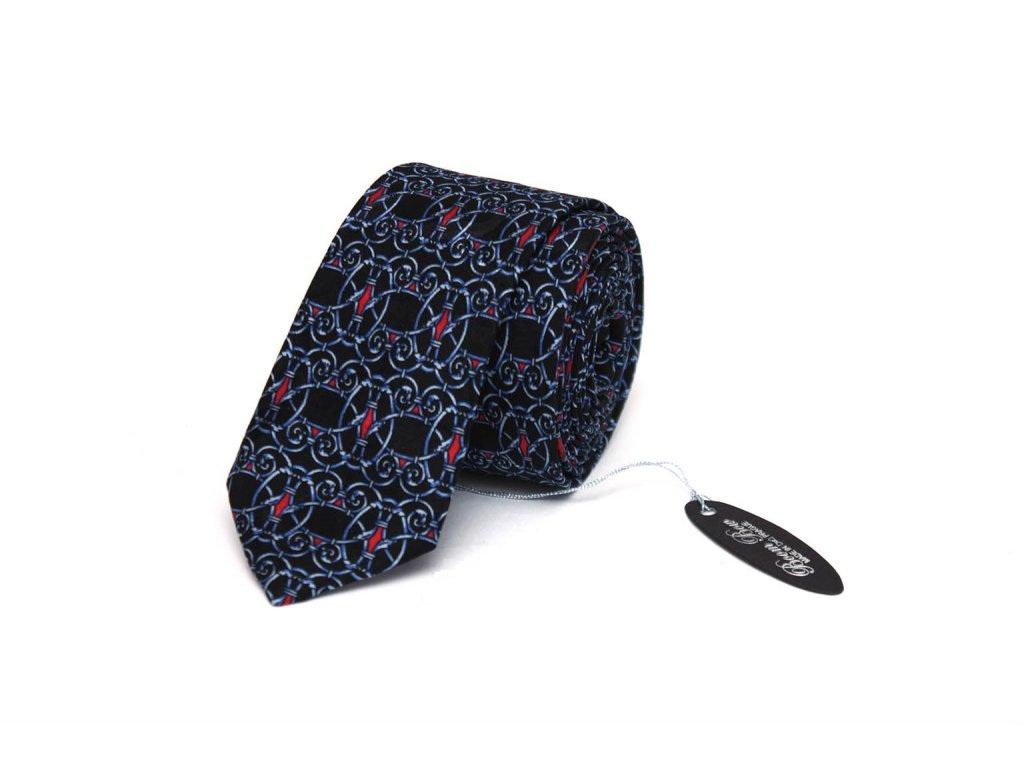 2360 tmave modra kravata s ornamentem