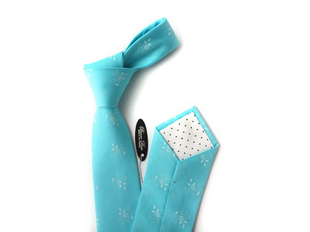2393 tyrkysova kravata s kvetinami