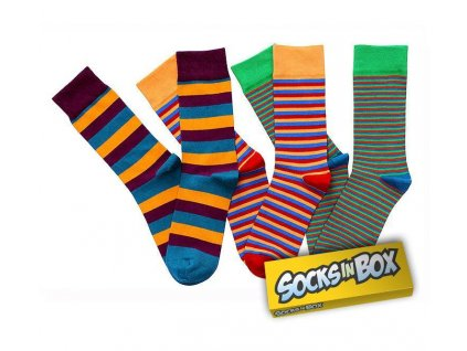 Barevné unisex ponožky STRIPY (Velikost pono 45-48)