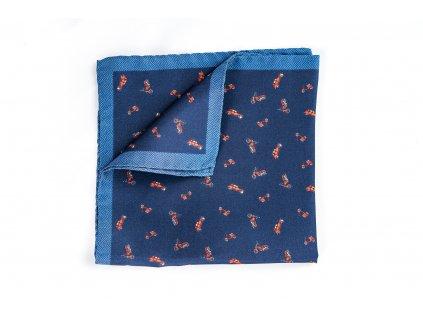 Modrý moto kapesníček z hedvábí 1