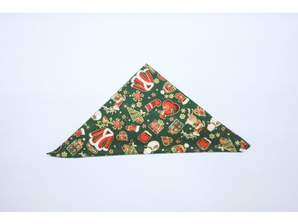 3477 zeleny vanocni kapesnicek s ptacky