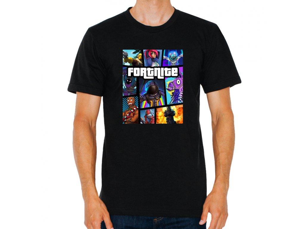 pánské černé tričko Fortnite