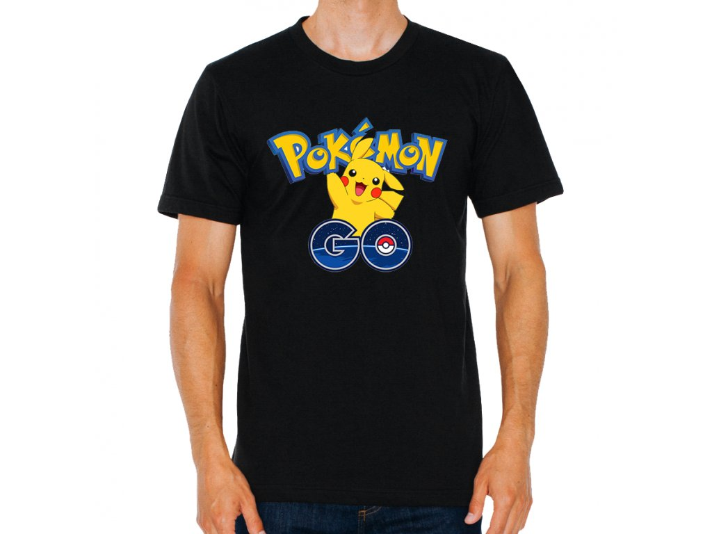 pánské černé tričko Pokemon Go Pikachu