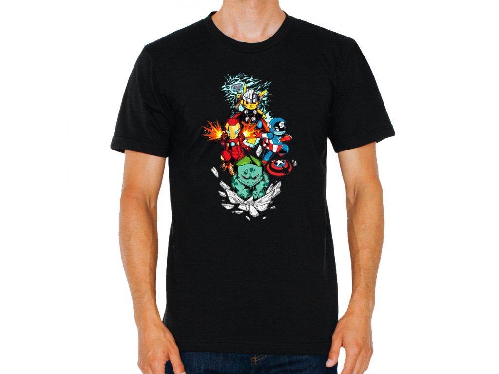 pánské černé tričko Pokemon GO a Avengers