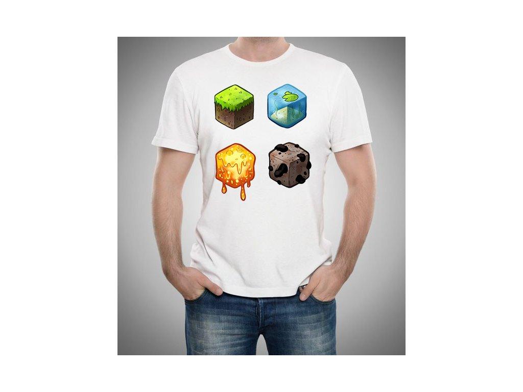 pánské bílé tričko minecraft kostky