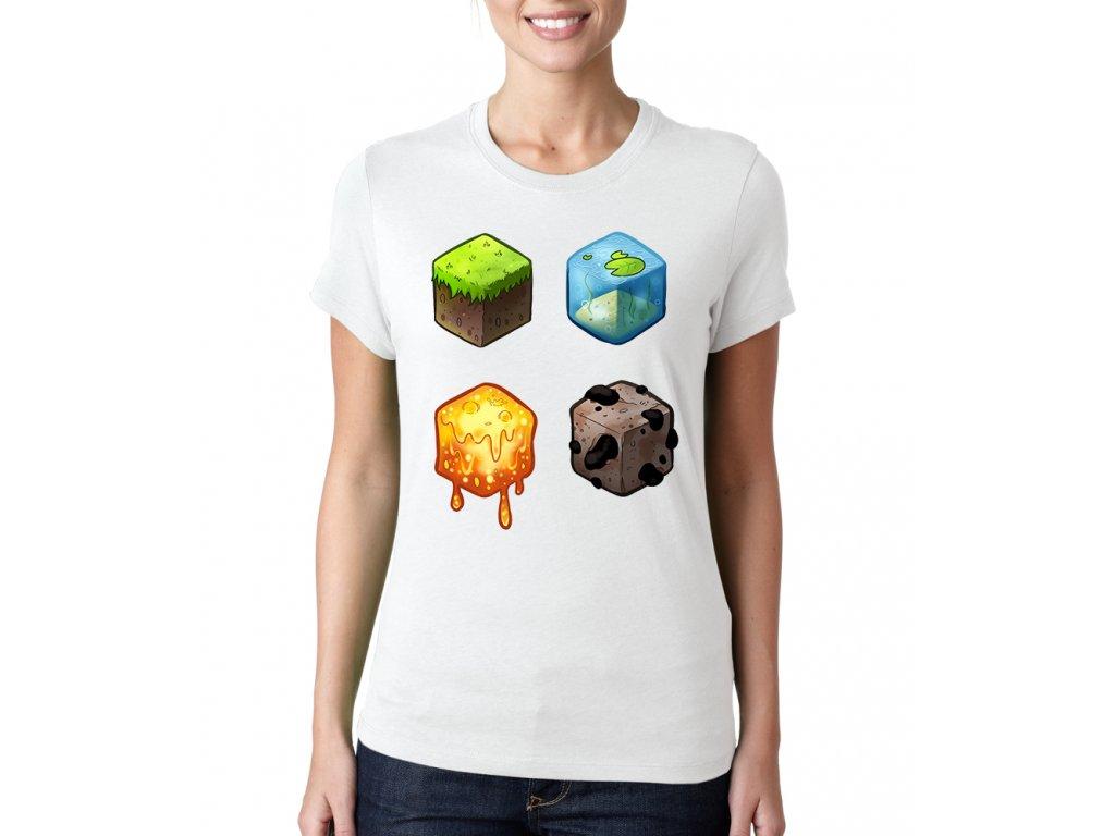 dámské bílé tričko minecraft kostky