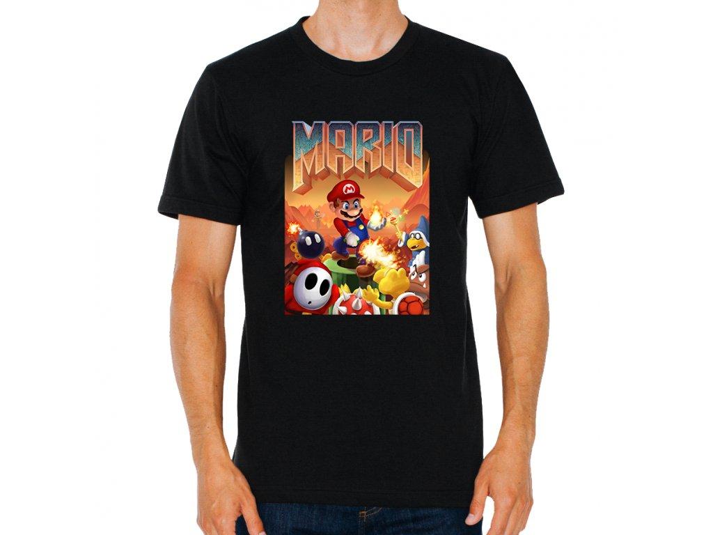 pánské tričko Mario doom parodie