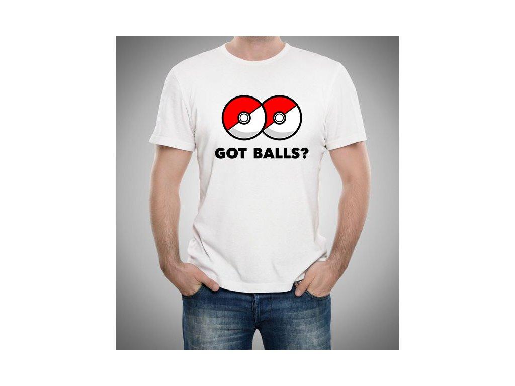 pánské bílé tričko Pokemon GO máš koule