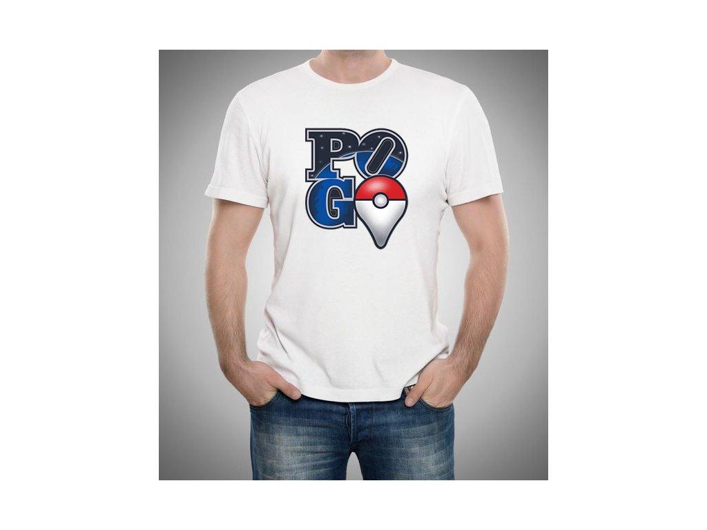pánské bílé tričko Pokemon GO galaxy