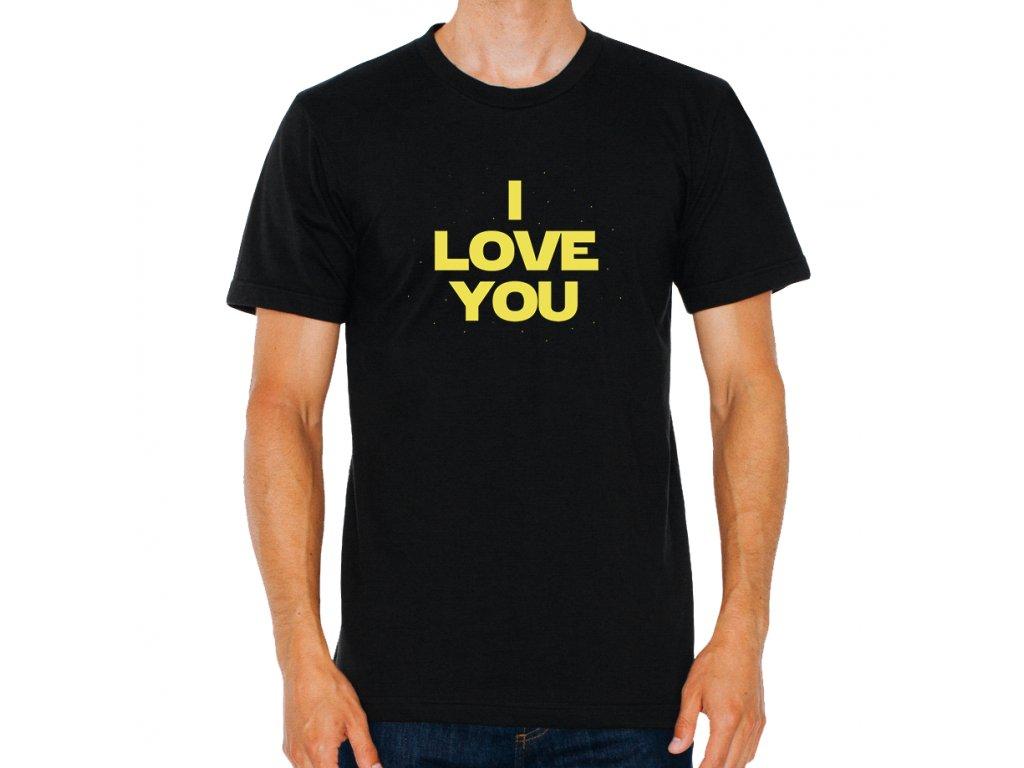 pánské černé tričko starwars Mám tě rád