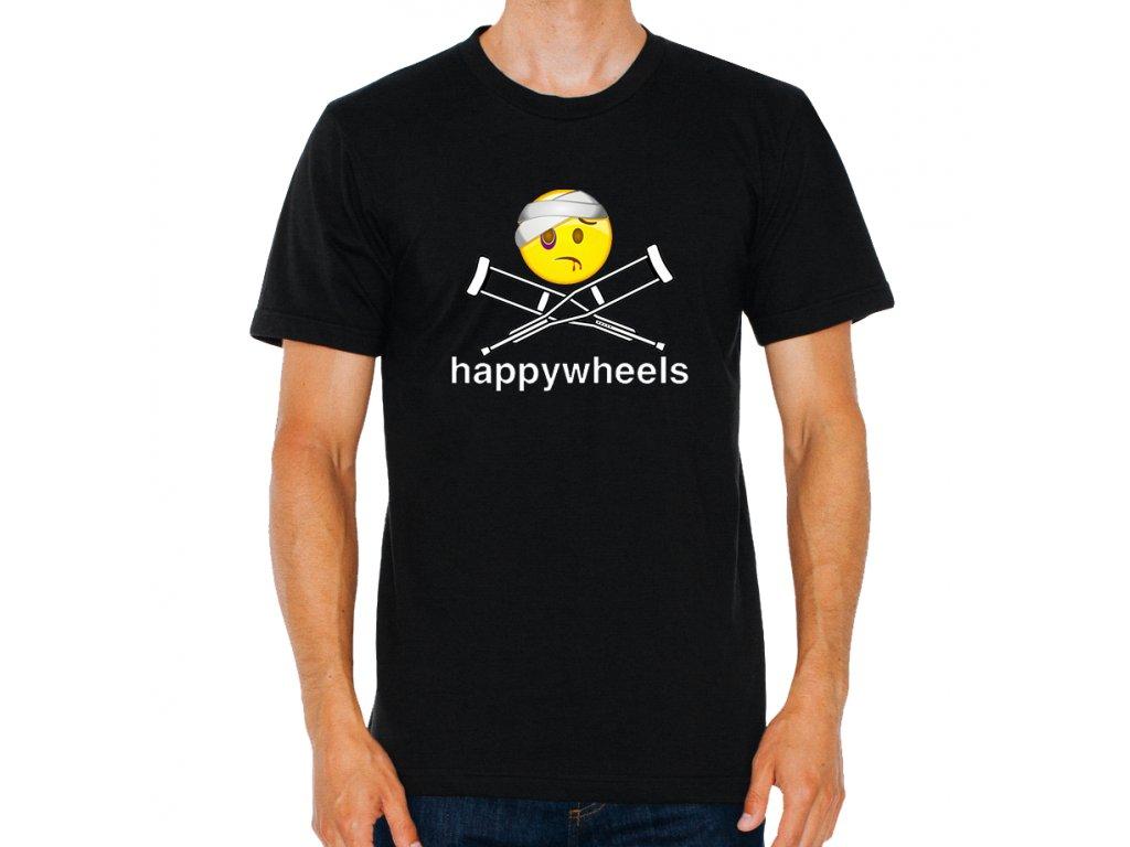 pánské černé tričko Happy Wheels