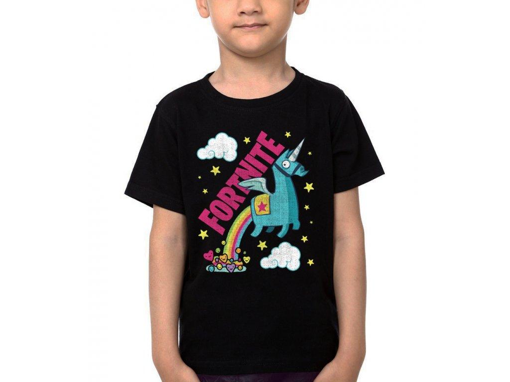 Dětské tričko Fortnite Battle Royale Unicorn Duha