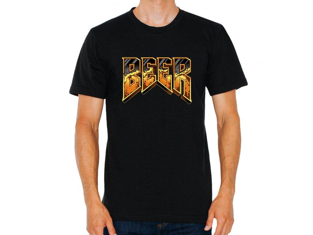 pánské černé tričko Pivo parodie Doom