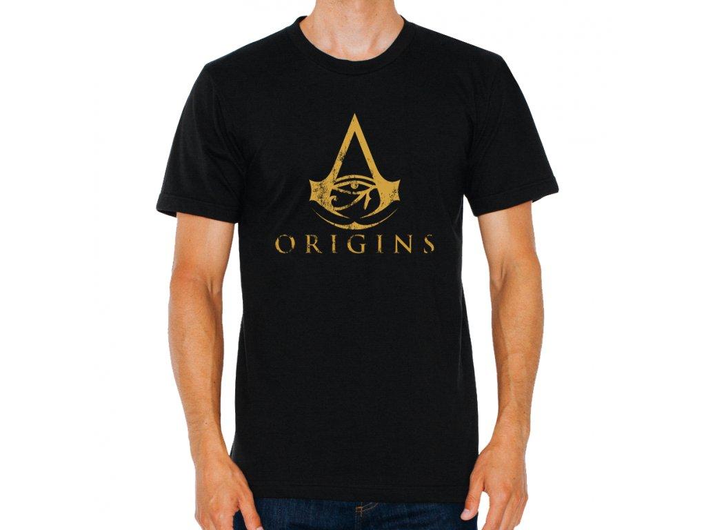 pánské černé tričko Assassins Creed origins