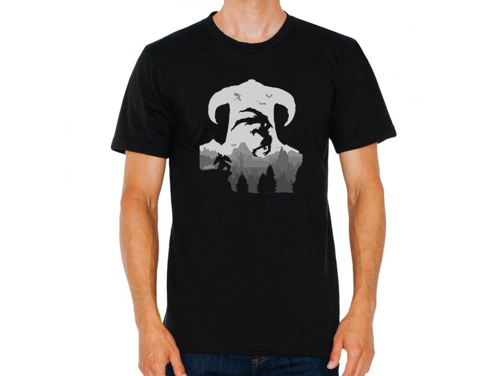 pánské černé tričko Skyrim