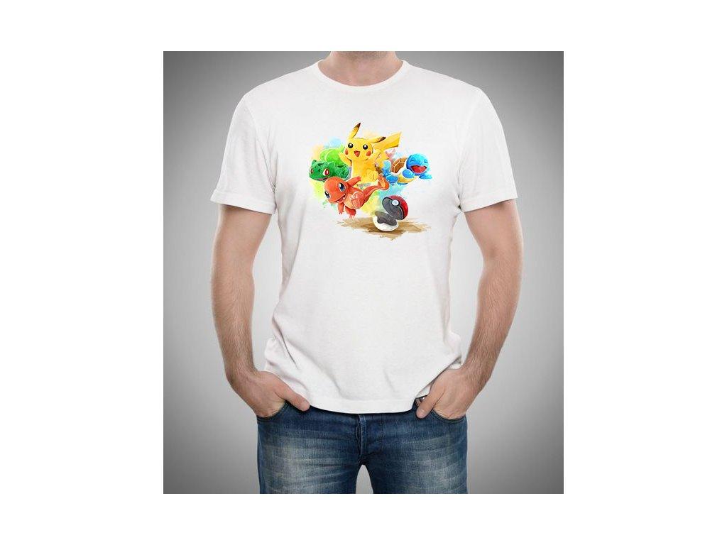 pánské bílé tričko Pokemon pikachu
