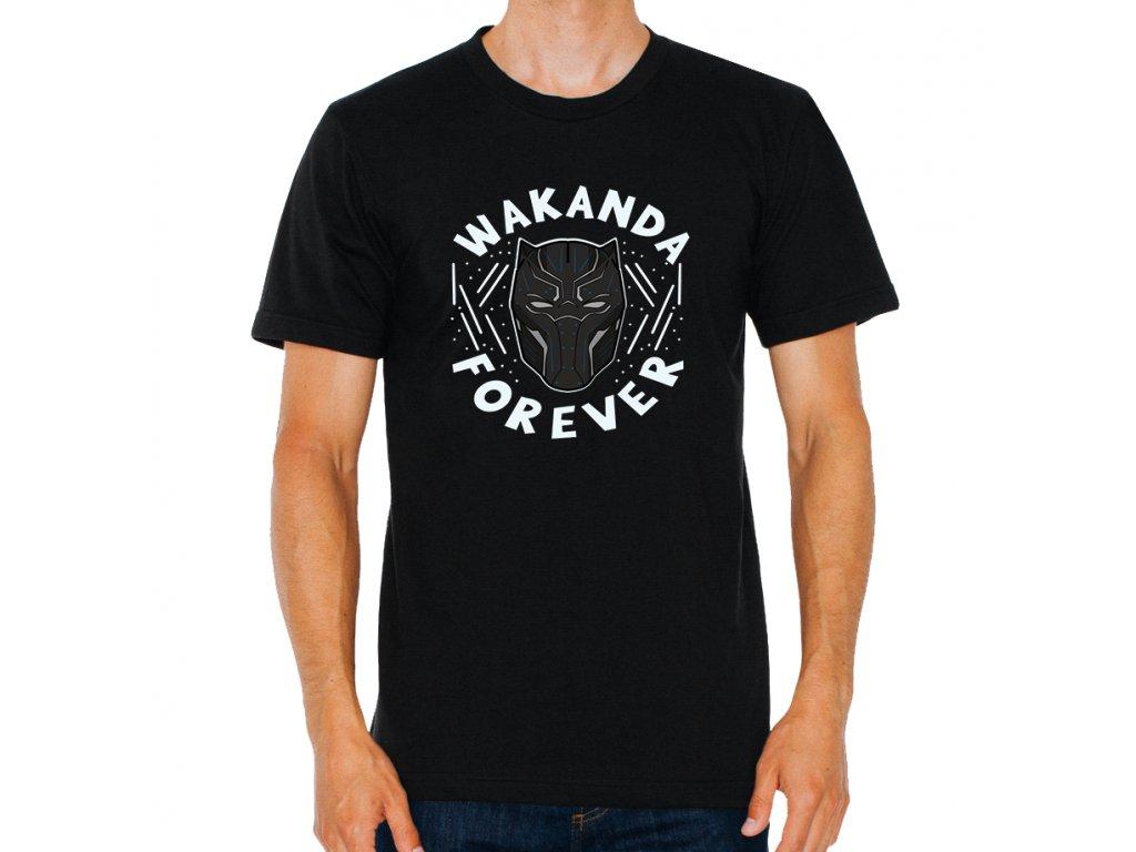 pánské černé tričko Black Panther Wakanda navždy