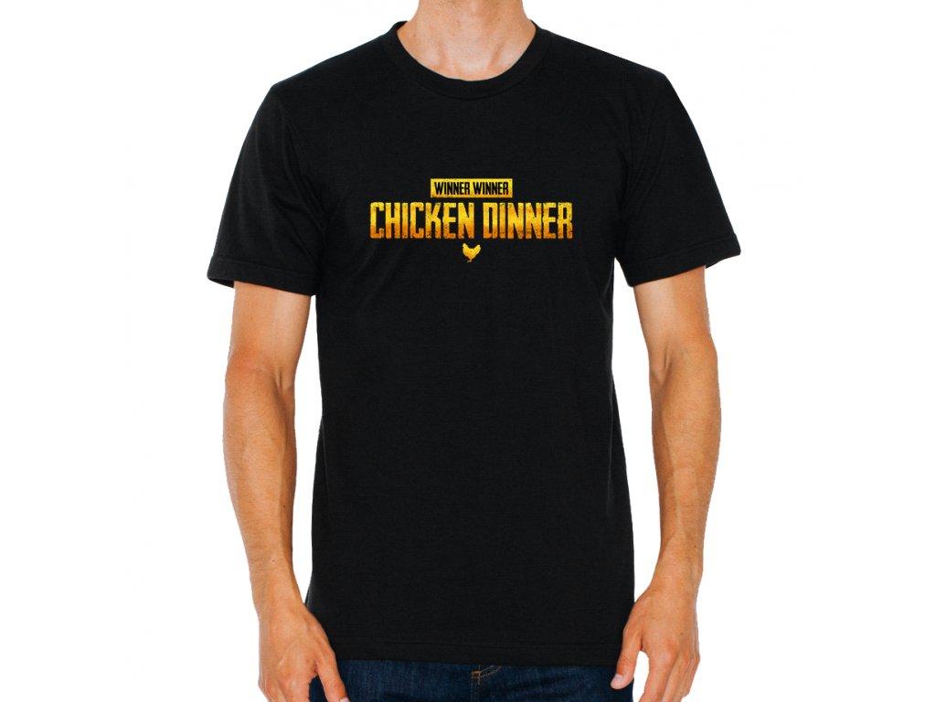 pánské černé tričko Chicken Dinner PUBG