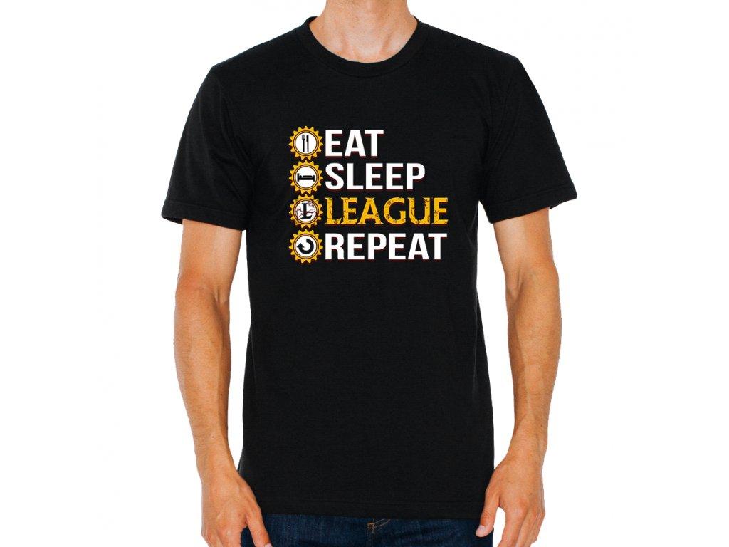 pánské černé tričko League Of Legends Najíst, vyspat, League a znovu