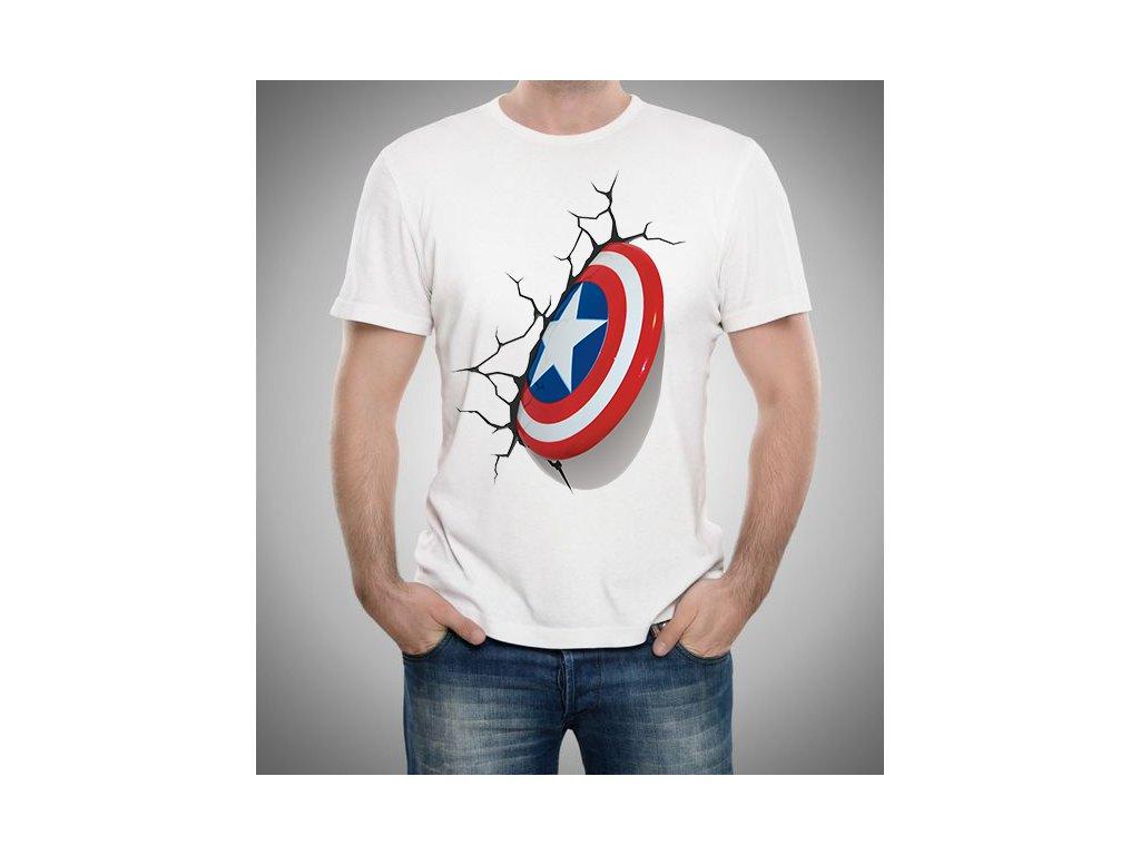 pánské bílé tričko kapitán amerika štít