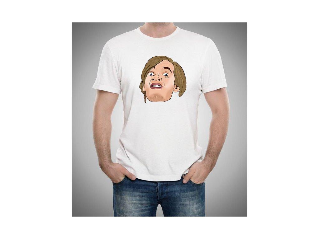 pánské bílé tričko pewdiepie obličej