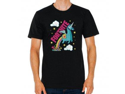 pánské černé tričko Fortnite Battle Royale Unicorn duha
