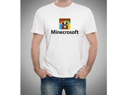 pánské bílé tričko Minecraft parodie microsoft