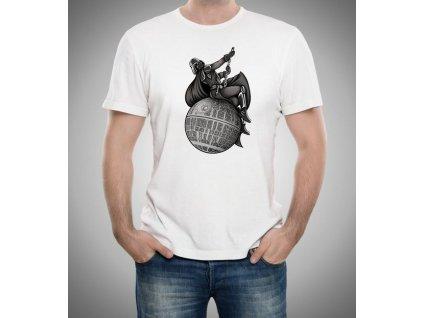 pánské bílé tričko starwars Darth wader bourací koule