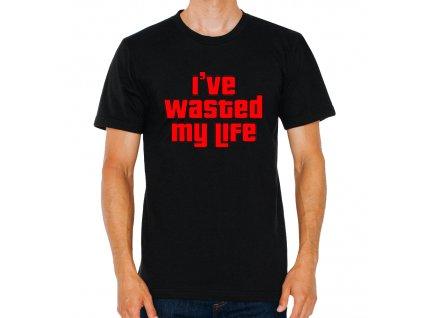 pánské černé tričko GTA Promarnil jsem svůj život