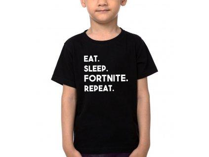 Dětské tričko Fortnite Najíst vyspat se fortnite opakovat