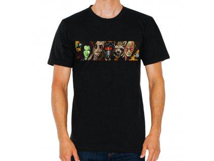 pánské černé tričko Strážci Galaxie