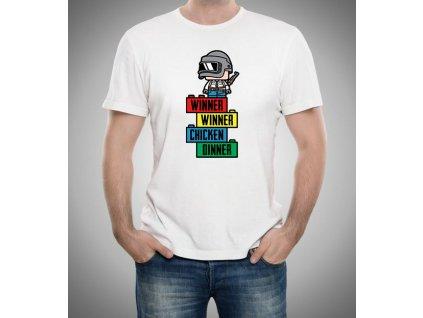 pánské bílé tričko PUBG lego kostky