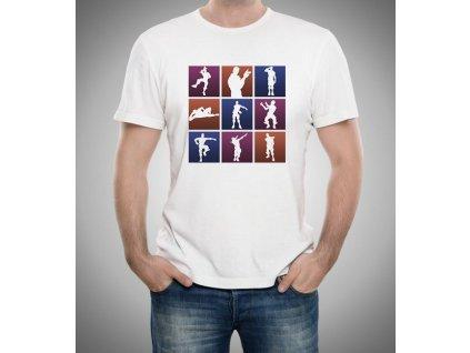 pánské bílé tričko fortnite motivy