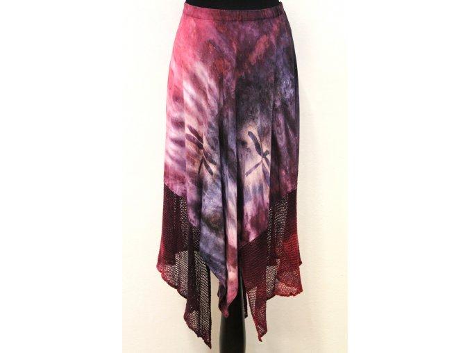 fialová cípatá sukně
