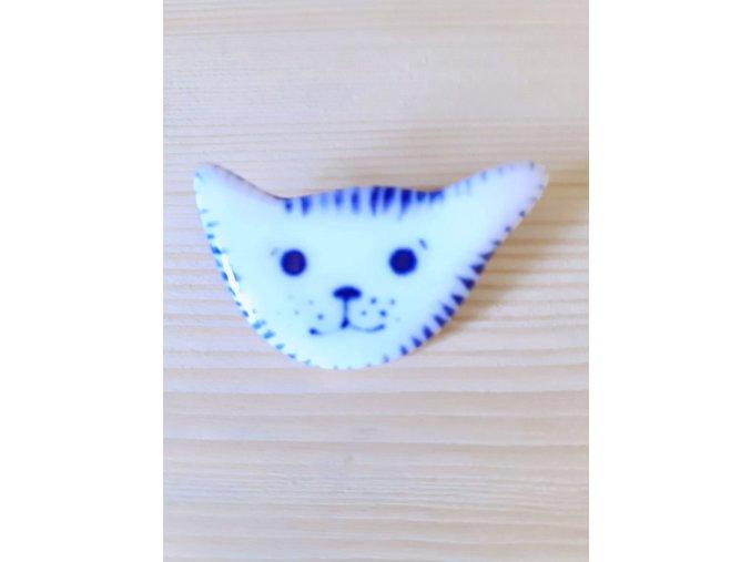Porcelánová brož - kočička
