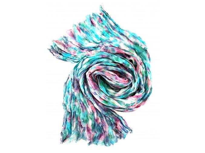 Hedvábný šál tyrkysovo-růžový