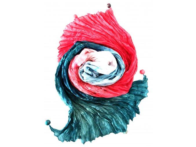 hedvábný šál červeno-petrolejový