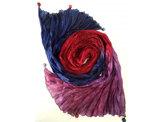 Hedvábný šál modro-červeno-fialový
