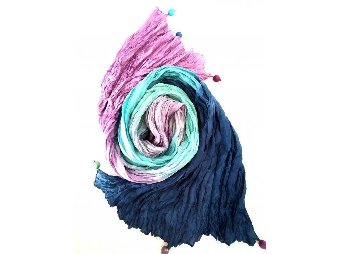 hedvábný šál fialovo-tyrkysovo-modrý