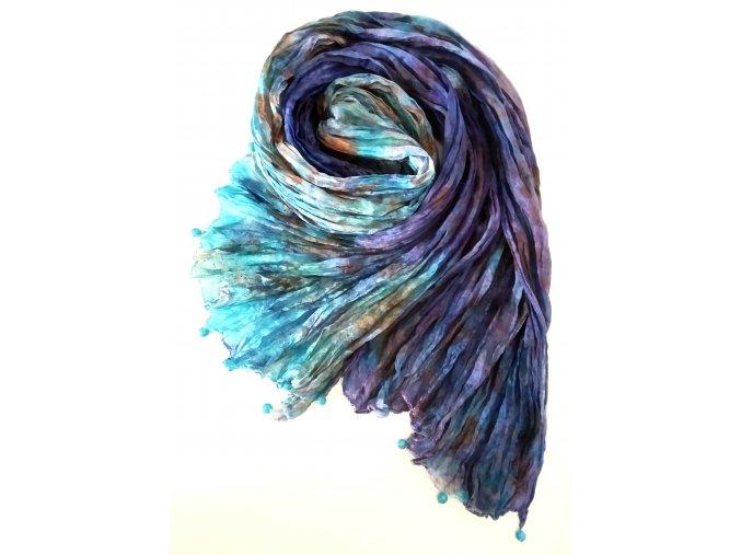 hedvábný šál v oranžovo - modrých tónech