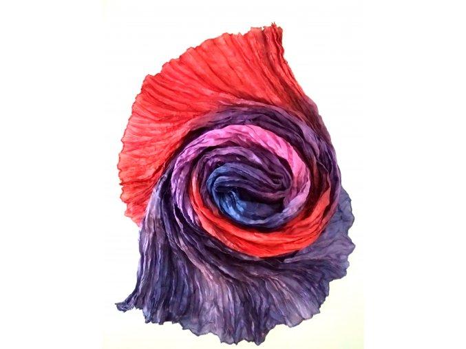 hedvábný šál červeno-modro-fialový