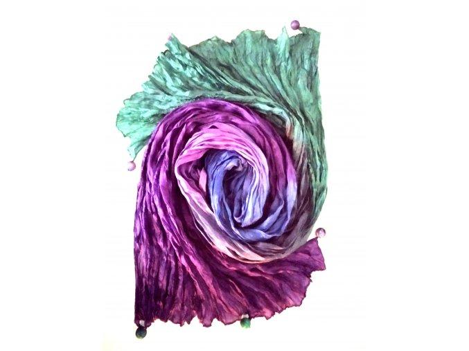 hedvábný šál fialovo-modro-zelený