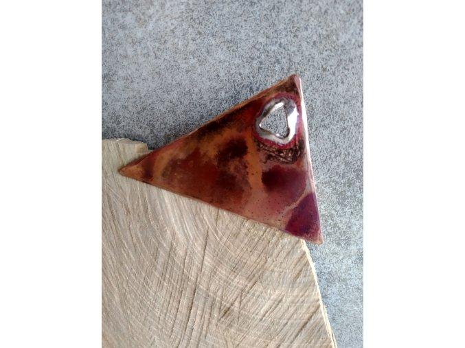 měděná brož trojúhelníková