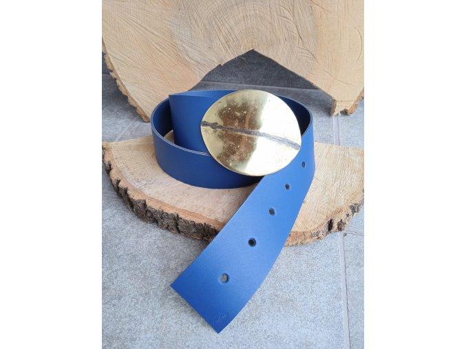 Kožený pásek modrý