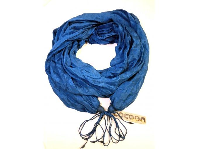 Hedvábný šál modrý