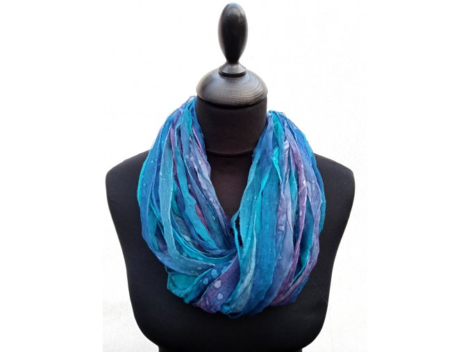 Hedvábný náhrdelník z proužků tyrkysovo fialovo modrý